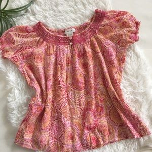 Kate Hill Short Sleeve Pink Top Size Small